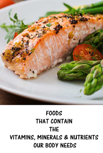 FOODS THAT CONTAIN THE VITAMINS, MINERALS AND NUTRIENTS OUR BODY NEEDS